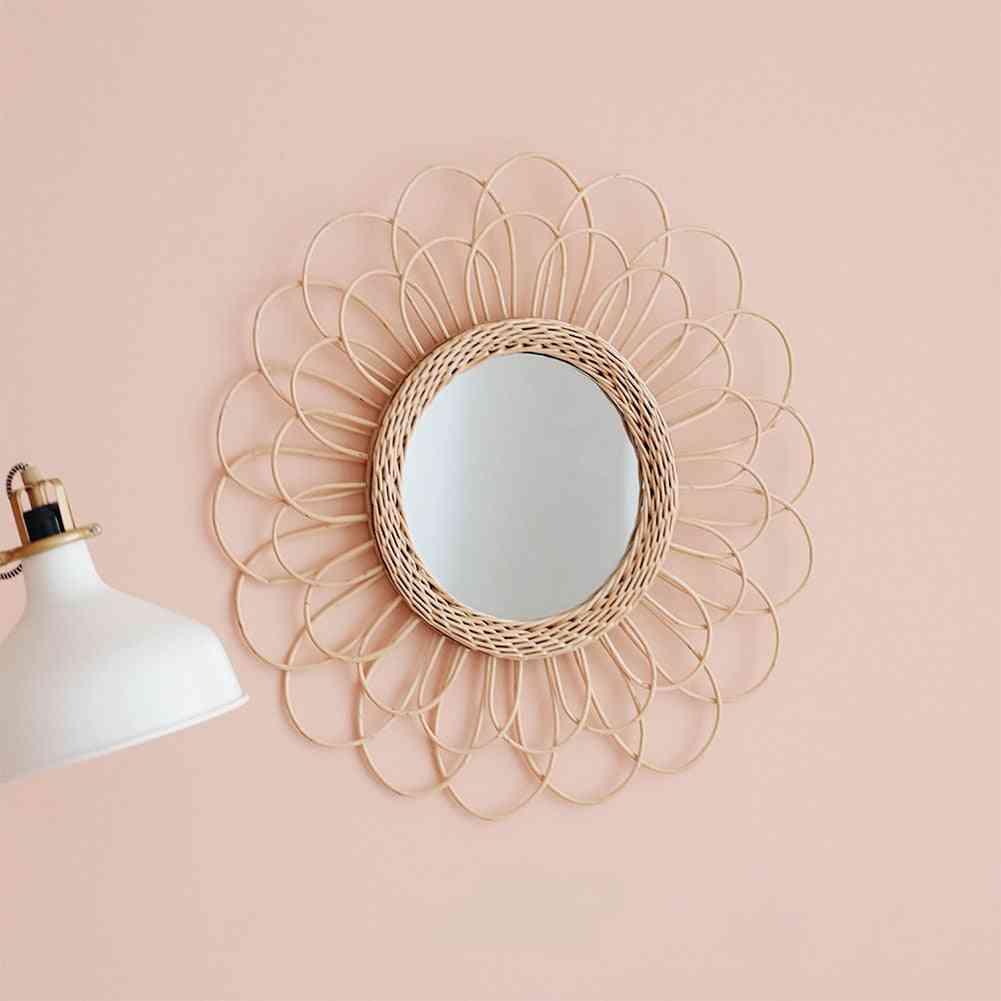Home Rattan Plaited Art Living Room Nordic Style Makeup Decorative Wall Hanging Mirror - Bedroom Bathroom Photography Prop