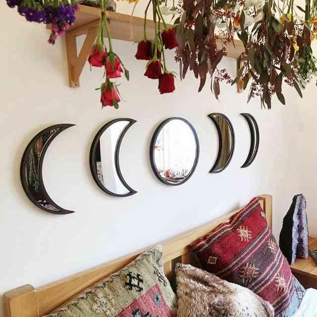Nordic Style Wooden Decorative Moon Phase Acrylic Mirror - Home Decor Mirror