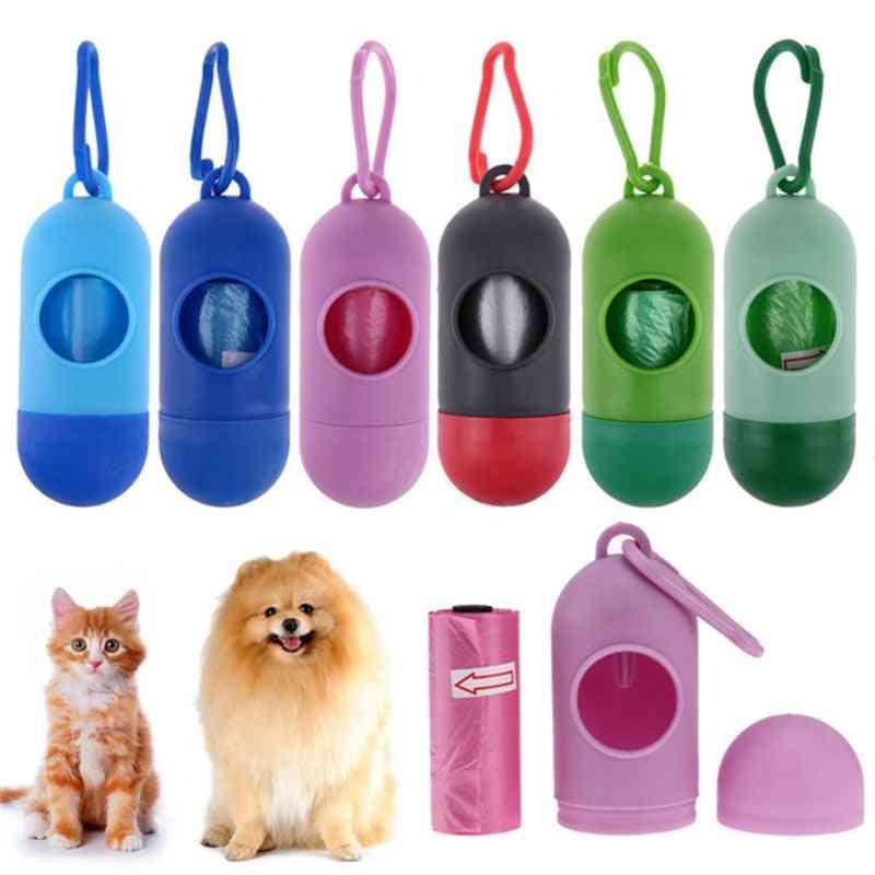 New Pill Shape Dog Cat Poop Bag Dispenser & Waste Garbage Carrier For Pet