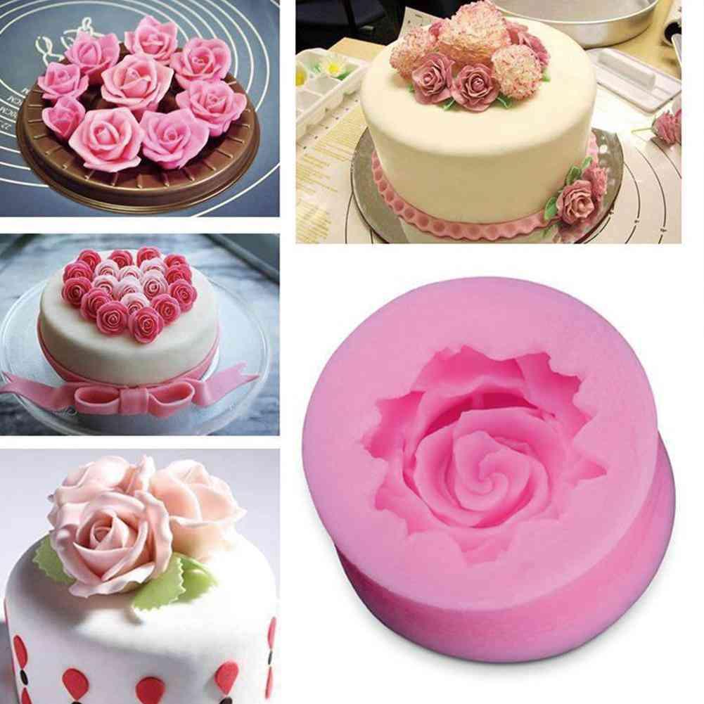 Diy Baking Fondant Silicone Rose Mold - Rose Flower Chocolate Wedding Cake Decorating Mold