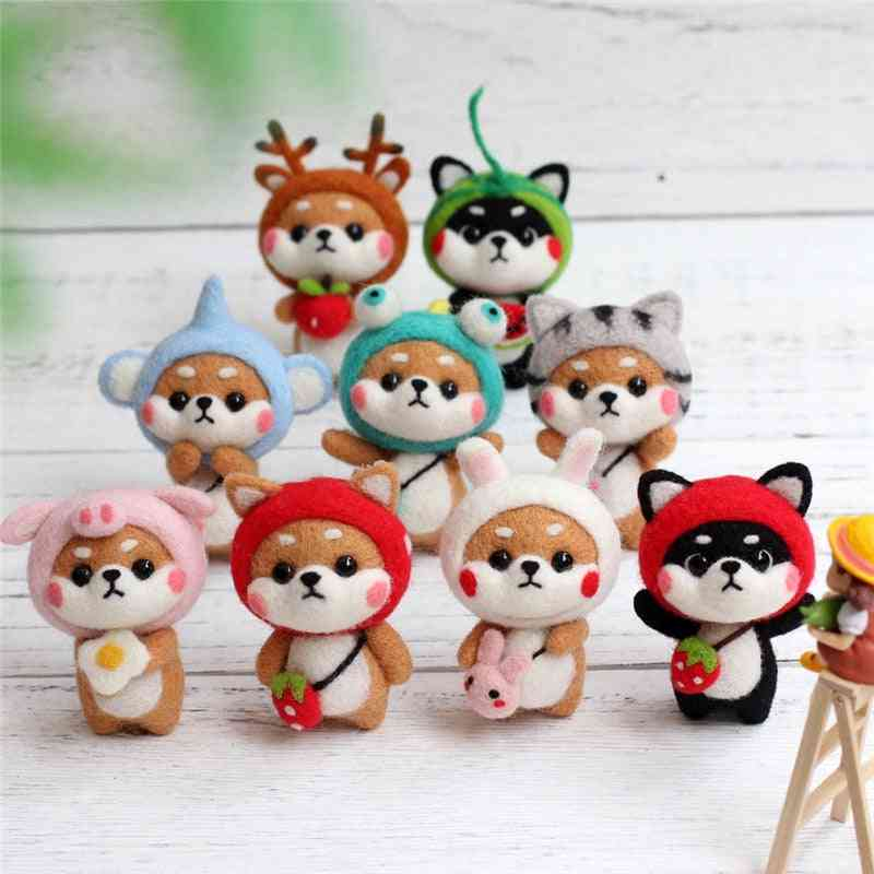 Creative Lovely Doll Wool Felt Craft Material Bag Diy Non-finished Poked Set Handcraft Kit