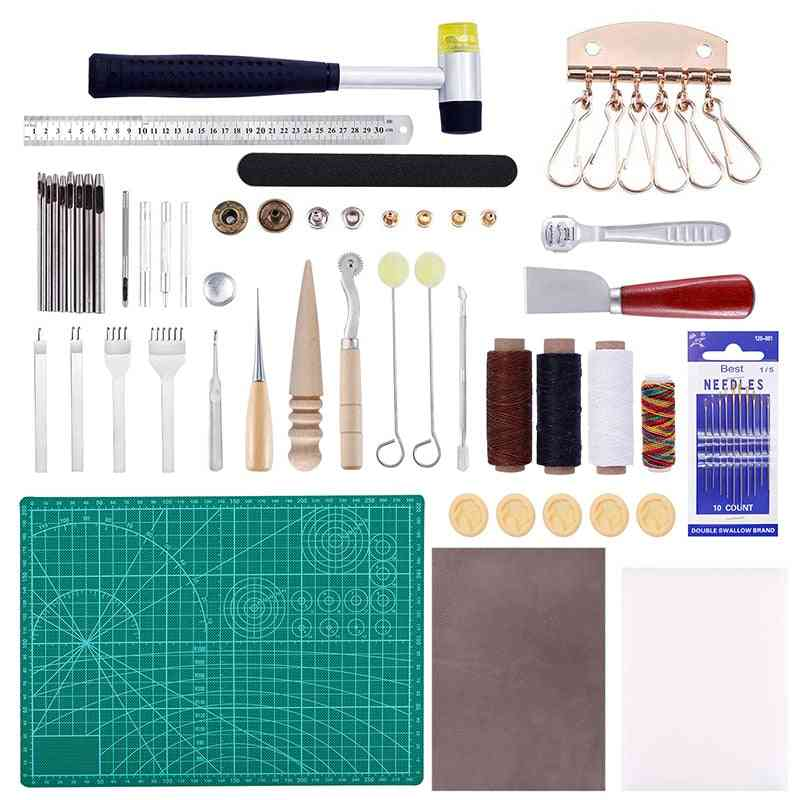 Professional Leather Craft Tools Kit - Hand Sewing Stitching Punch Carving Work Saddle Groover Set