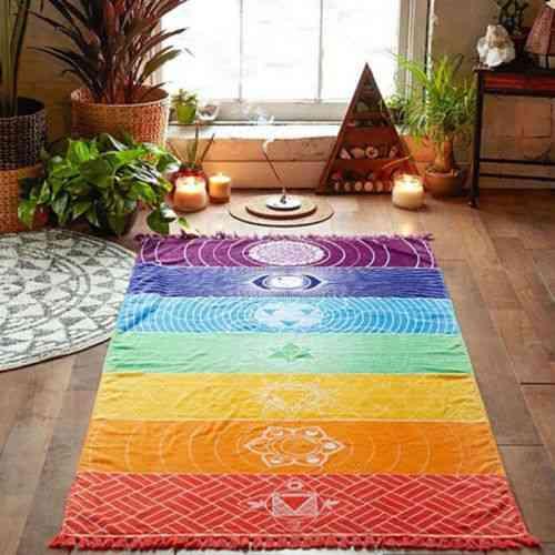 Fashion Tassels Single Rainbow Chakra Tapestry Blanket - Mandala Boho Stripes Travel Yoga Mat Tapestry