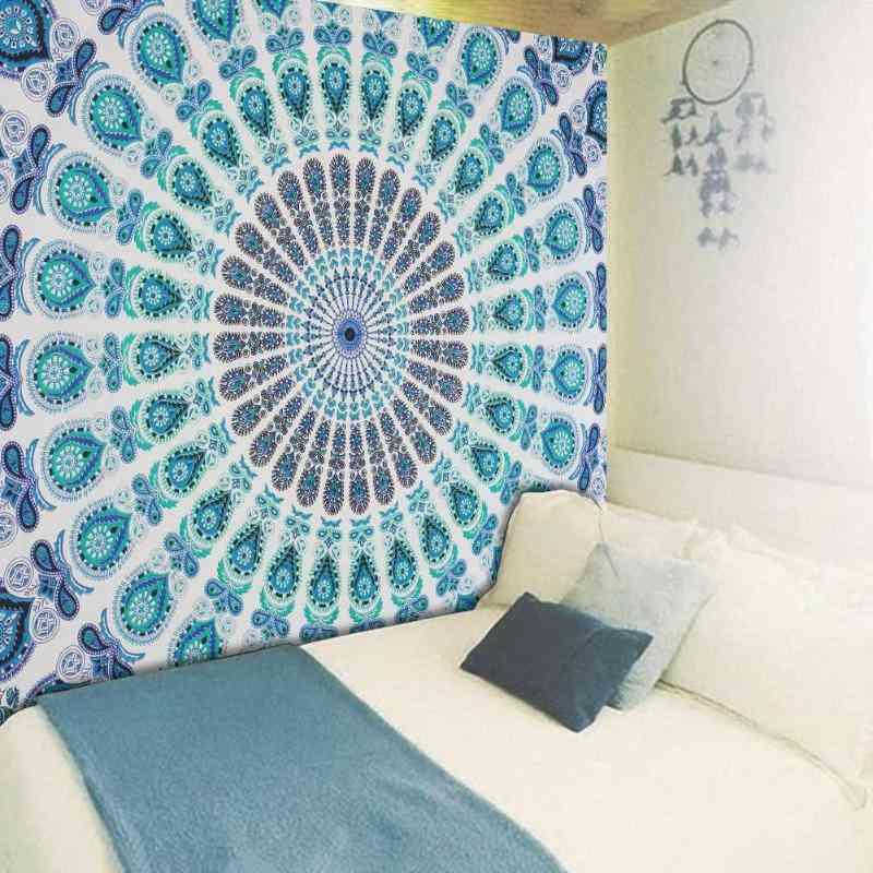 Large Mandala Indian Wall Hanging Bohemian Beach Tapestry - Polyester Thin Yoga Shawl Mat Blanket