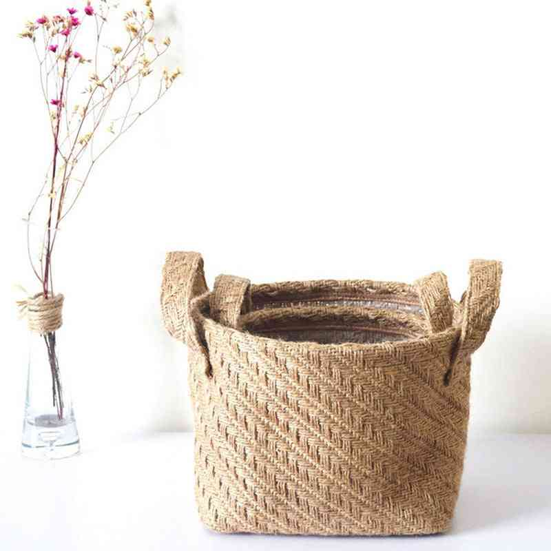 Braided Jute Cloth Storage Basket - Cotton Linen Blended Desktop Kids Laundry Storage Basket
