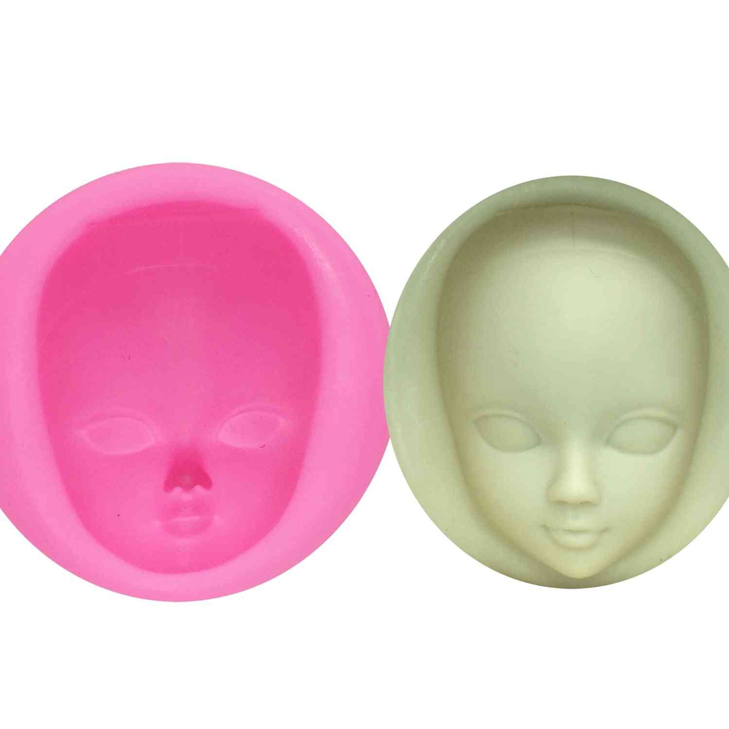 Diy Girl Face Fondant Silicone Mold - Cake Decorating Tools Woman Mask Gumpaste Clay Resin Mould