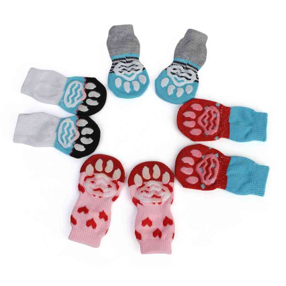 Anti Slip Small Pet Cat Dog Winter Socks -thick Warm Paw Protector Knit Booties Accessories