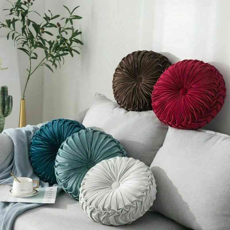Velvet Pleated Round Solid Color Pouf Throw Cushion