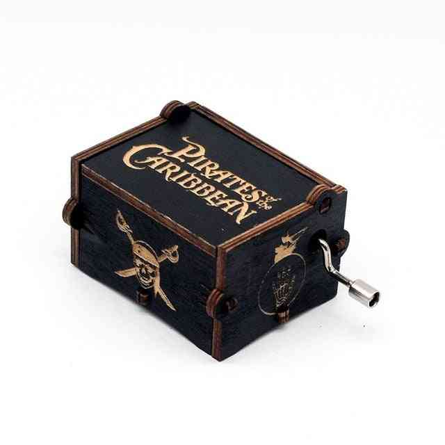 Pirates Of The Caribbean Hand Crank Carved Wooden Musical Box - Davy Jones Theme