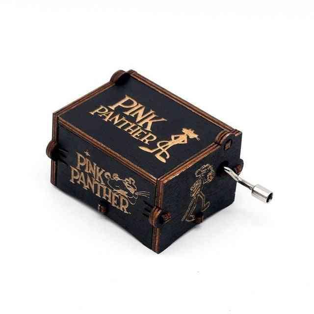Engraved Vintage Wooden Music Box - Pink Panther Theme