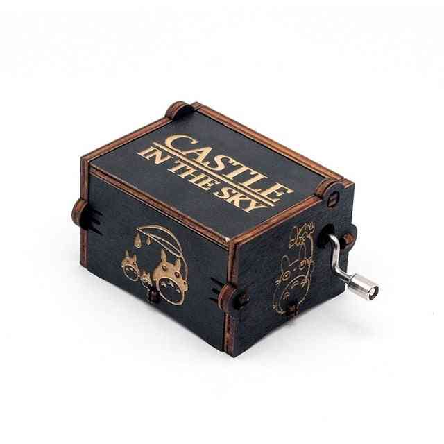 Carrying You Castle In The Sky Black Wood Hand Crank Wooden Music Box