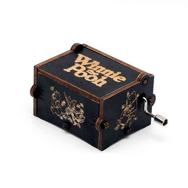 Winnie The Pooh-hand Crank Wooden Music Box