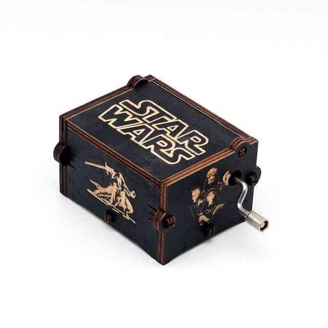 Star Wars Hand Crank Vintage Engraved Wooden Music Box