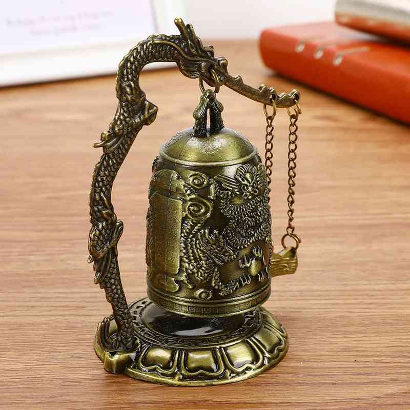 Buddhism Temple Brass Copper Dragon Bell Clock Carved Statue