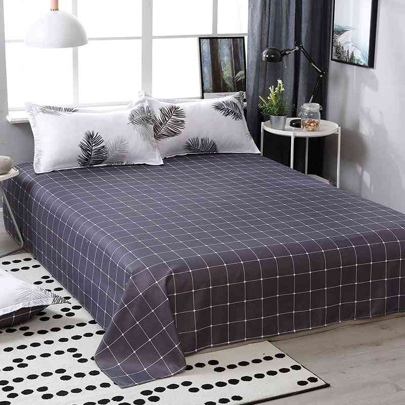 Home Twin King Queen Size Cotton Bedding Set - Flat Bed Sheet With Pillow Case And Duvet Cover
