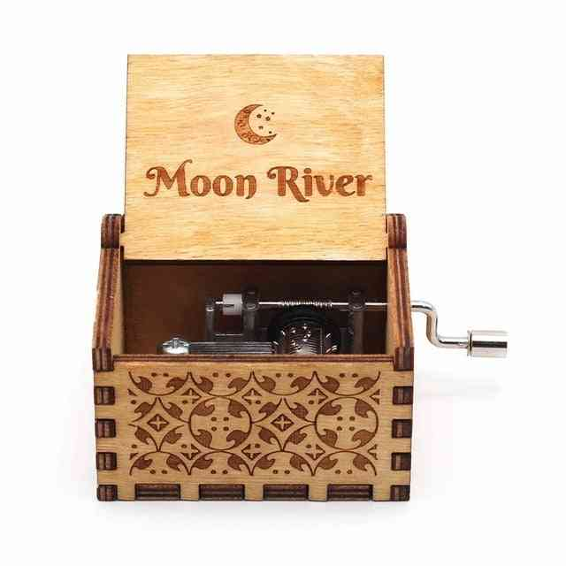 Moon River Antique Carved Hand Crank Wooden Music Box