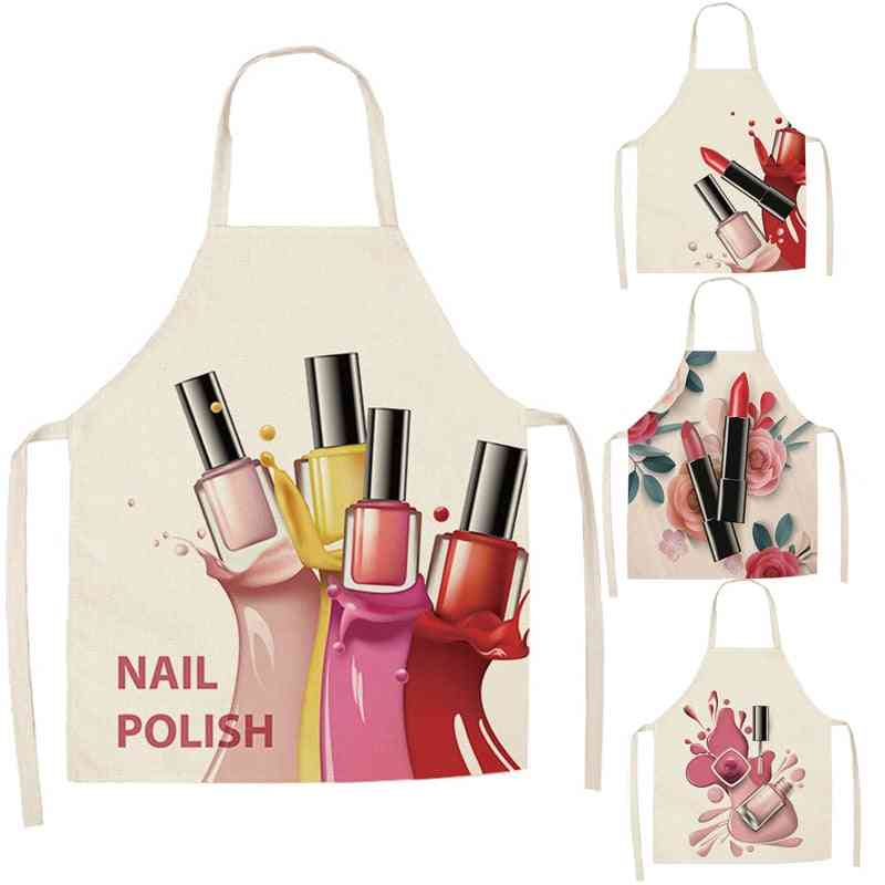Linen Flower, Nail Polish Design - Printed Theme, Aprons For Dinner, Party, Cooking