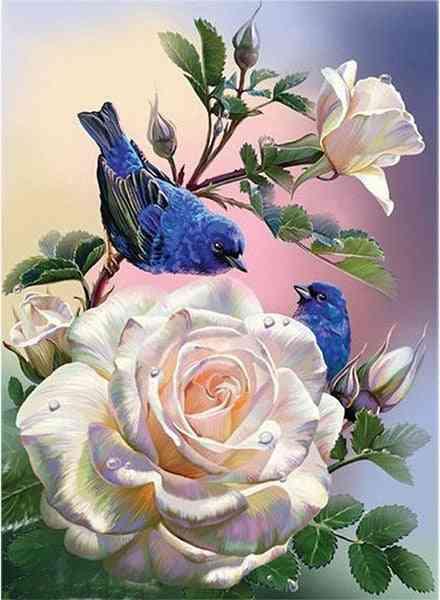 Mosaic Pattern 5d Diy Diamond Art Embroidery Painting - Home Decoration Flower Diamond Cross Stitch Painting