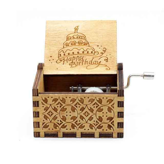 Happy Birthday Vintage Wood Carved Musical Box Crafts For Birthday
