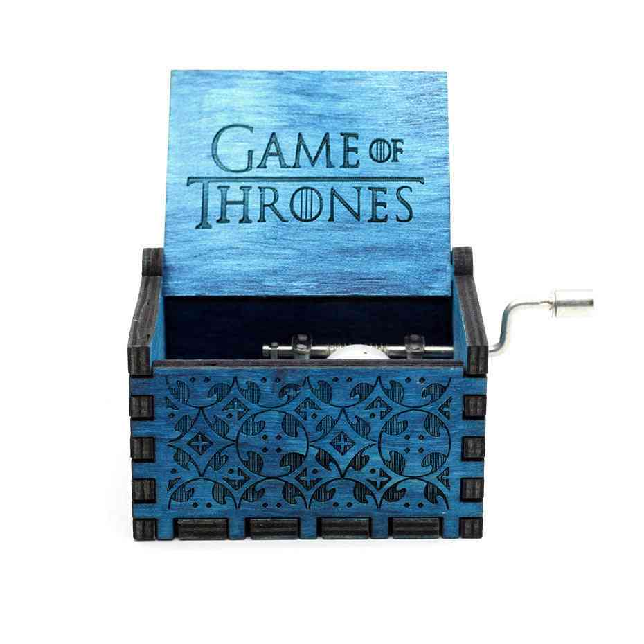 Hand Crank Game Of Thrones Mechanism Engraved Blue Wooden Music Box Home Decoration