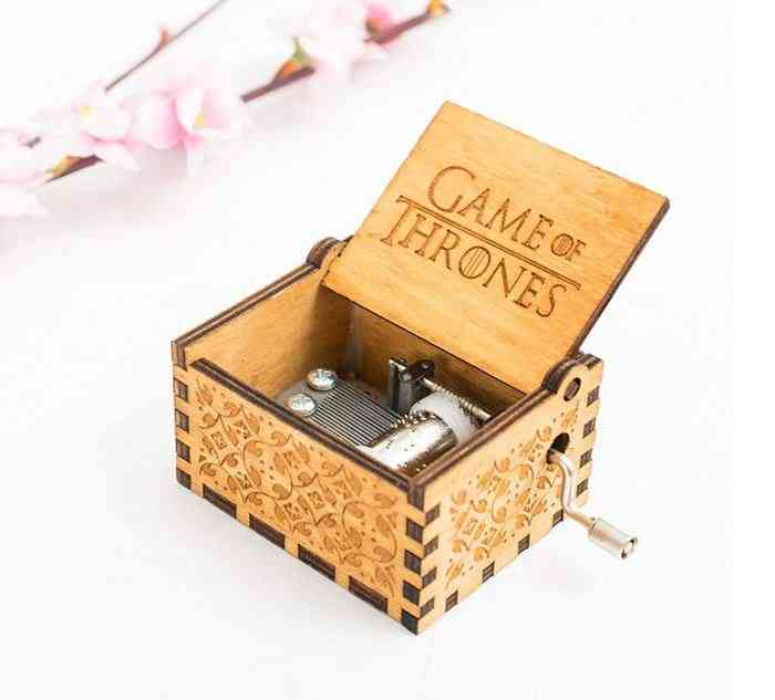 Game Of Thrones Title Track Themed Hand Cranked Collectible Engraved Got Wooden Music Box