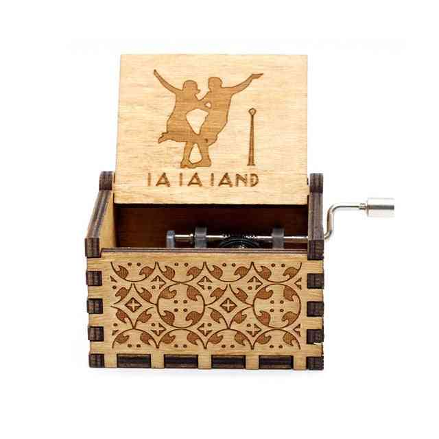La La Land Hand Cranked Collectable Engraved Wooden Music Box