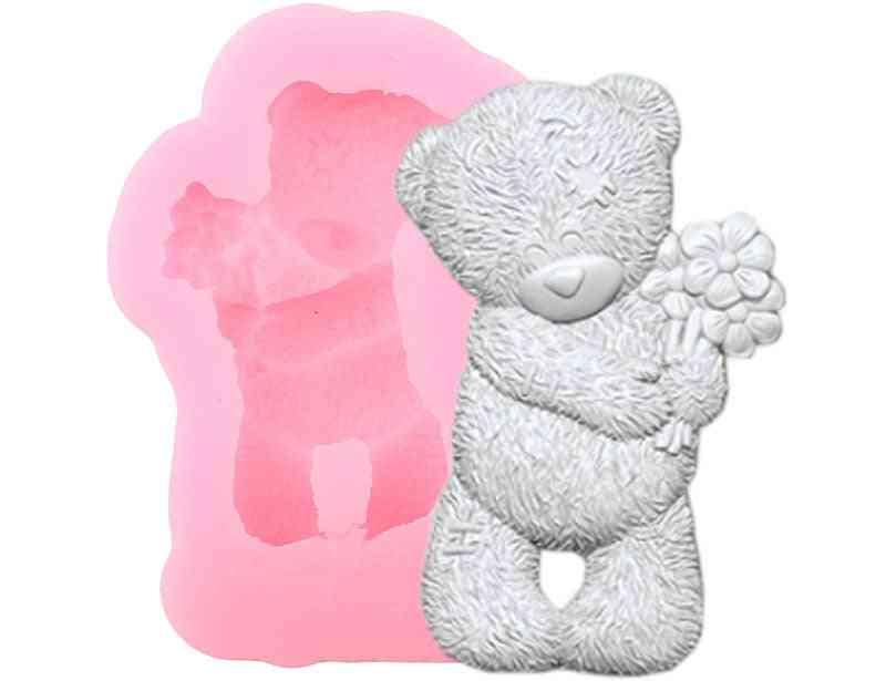 3d Craft Bear Silicone Mold - Flower Cake Border Fondant Molds, Wedding Cake Decorating, Candy Clay Chocolate Gumpaste Mold