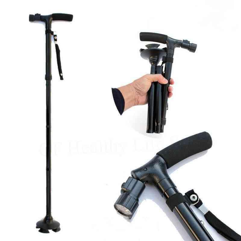 Led Safety Walking Stick -magic Cane 4 Head, Pivoting Trusty Base