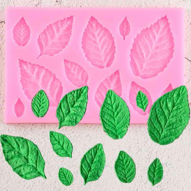 Rose Leaf Silicone Mold - Leaves Cupcake Topper Fondant Mold