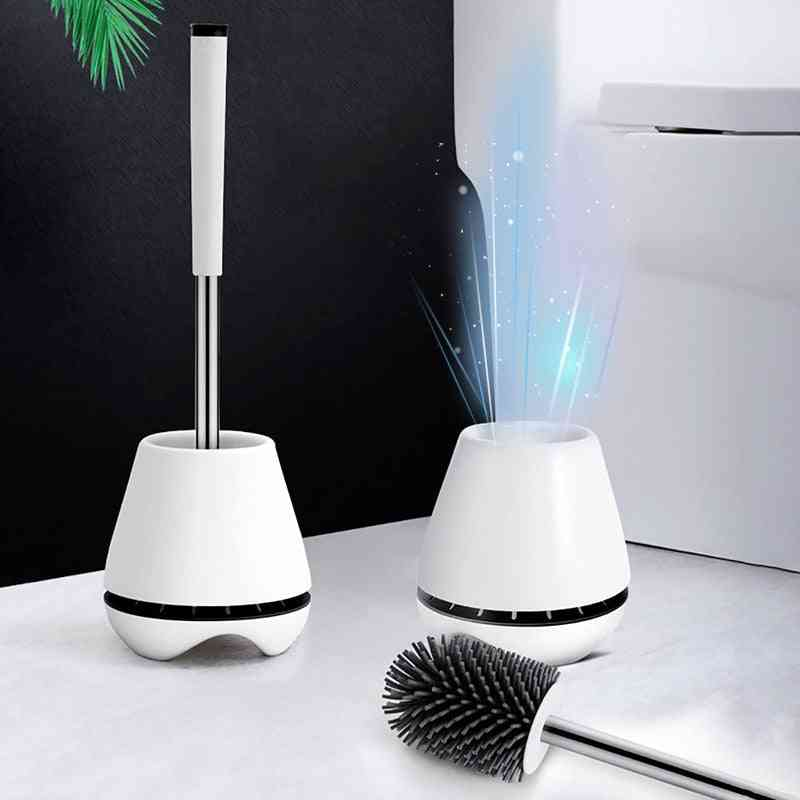 Household Floor Standing Cleaning Silicone Head Brush For Toilet Bathrooms