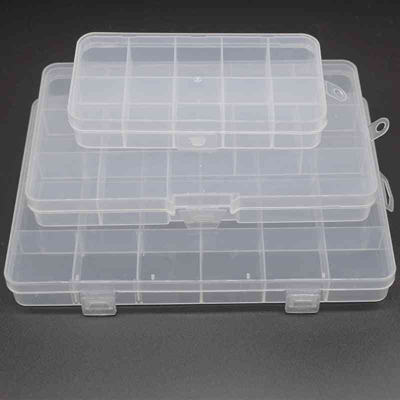 Fixed Grid Transparent Storage Box For Jewelry Accessories
