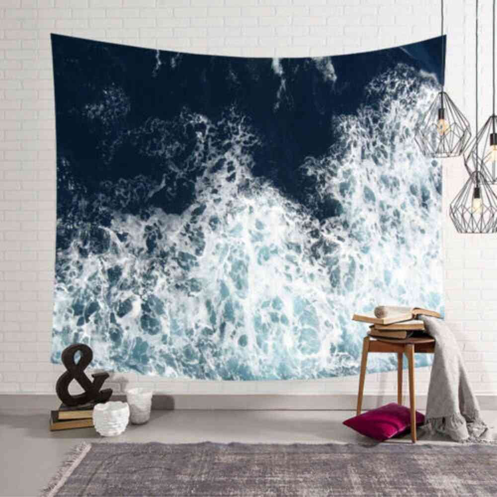Sea Waves Design-wall Hanging Tapestry For Home Decor, Yoga And Beach Towel