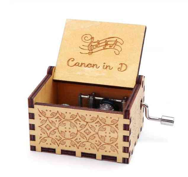 Canon In D-antique Carved And Hand Cranked Wooden Music Box