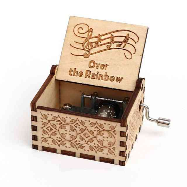 Over The Rainbow-handcrafted, Engraved And Hand Crank Wooden Music Box