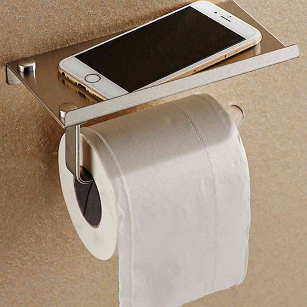 Stainless Steel, Wall Mount Toilet Roll Paper Holder With Storage Shelf