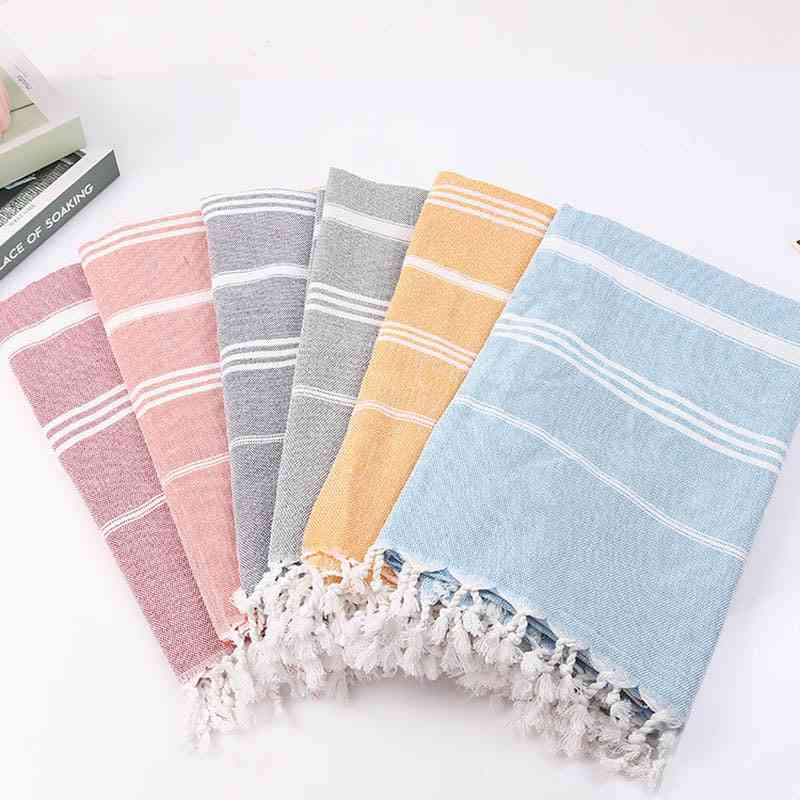 Striped Cotton Turkish Sports Bath Towel With Tassels - Travel, Gym, Camping, Bath, Sauna, Beach, Pool Blanket