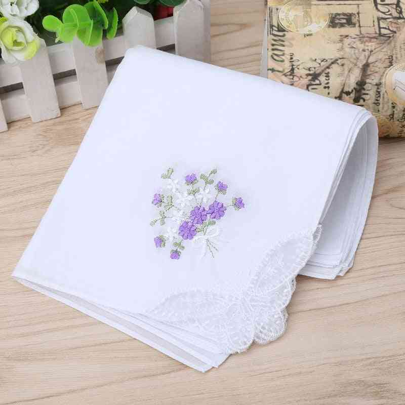Vintage Cotton Embroidered Lace Handkerchief - Women Floral Hanky