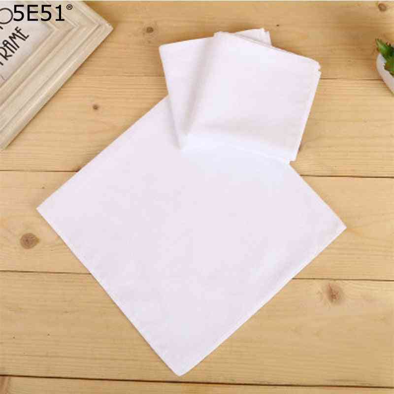 Women, Men Cotton Diy White Handkerchief