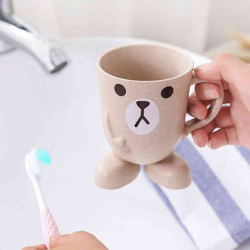 Cartoon Design Bathroom Glass For Mouthwash, Toothbrush - Portable Stand Bath Cup