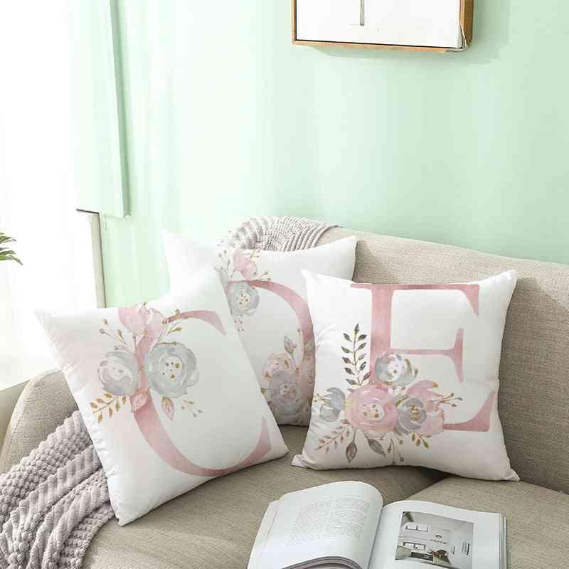 Pink Alphabet Letter Decorative Cushion Covers - Pillowcase For Sofa Cushion