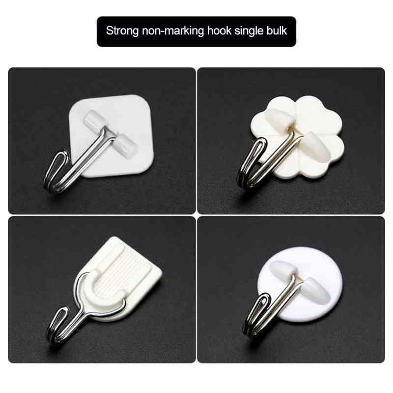 Self Adhesive Wall Hooks - Seamless Multi Purpose Hanging For Hat, Bag, Keys