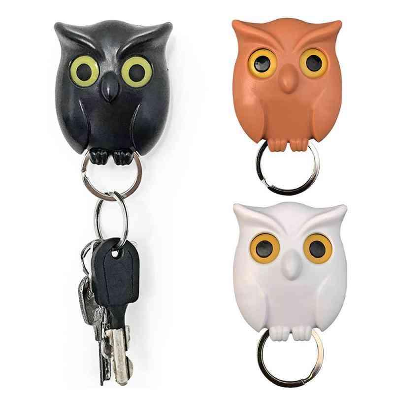 Owl Night Wall Magnetic Key Holder- Keychain Hanging Hooks