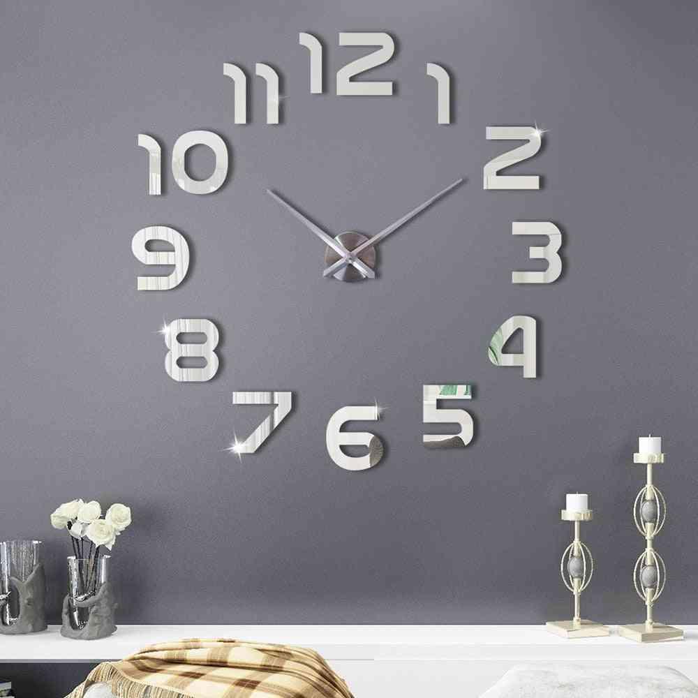 Large 3d Diy Wall Clock Sticker - Modern Design Silent Digital Acrylic Self Adhesive Wall Clock Sticker For Living Room Decor