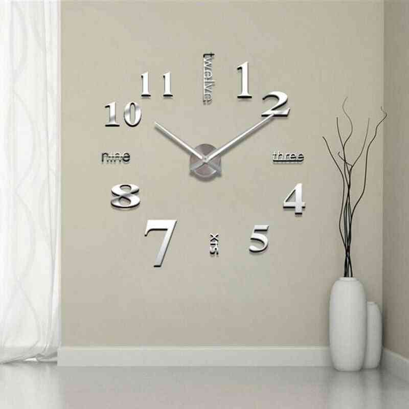 Diy 3d Mirror Surface Large Number Wall Clock Sticker - Mirror Large Art Design Wall Clock