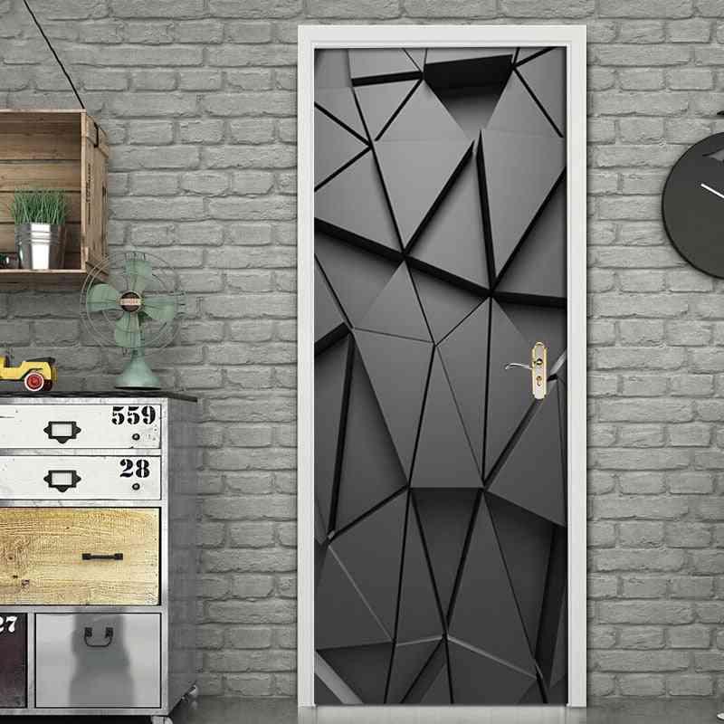 3d Mural Diy Door Stickers For Living Room, Bedroom, Home Decor - Poster Pvc Self Adhesive Waterproof Creative Door Sticker Decals