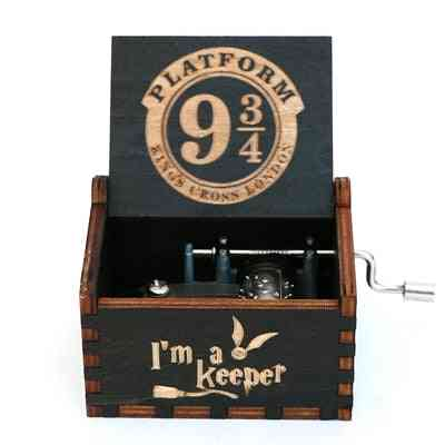 Platform 9 3/4 King's Cross London Wooden Hand Crank Black Music Box - Harry Potter Collectible