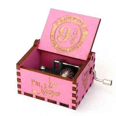 Platform 9 3/4 King's Cross London Hand Crank Pink Wooden Music Box - Harry Potter Collectible