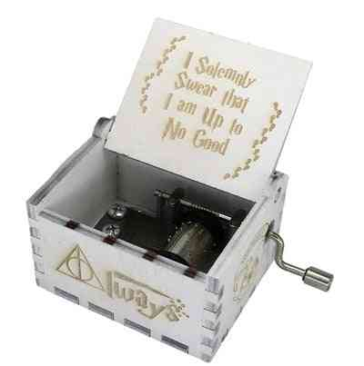 I Solemnly Swear That I Am Up To No Good Wooden Hand Crank White Music Box - Harry Potter Collectibles