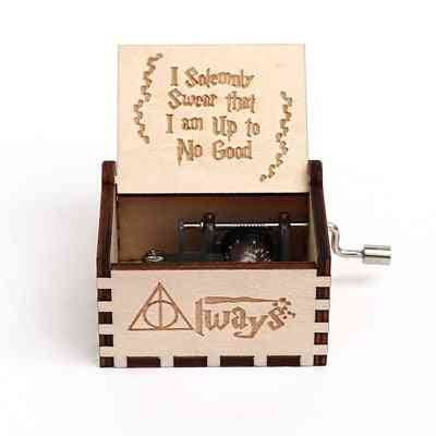 I Solemnly Swear That I Am Up To No Good Wooden Hand Crank 18 Tones Music Box - Harry Potter Collectibles