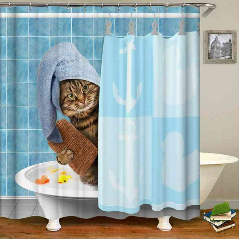 Printed, Waterproof And Polyester Fabric Shower Curtain